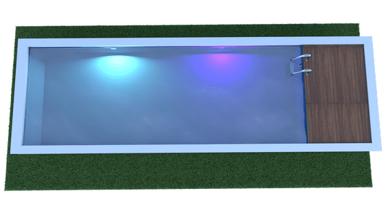 Piscine container projecteur led
